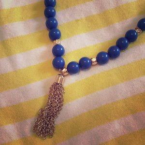 Jewelry - Blue beads tassel necklace
